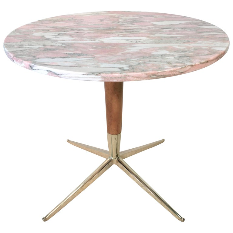 1950s Italian Pink Marble and Brass Pedestal Table For Sale