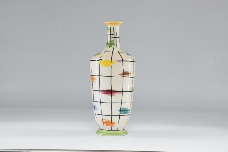 Mid-Century Modern 1950s Italian Pucci Umbertide Colorful Ceramic Vase For Sale