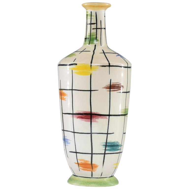 1950s Italian Pucci Umbertide Colorful Ceramic Vase For Sale