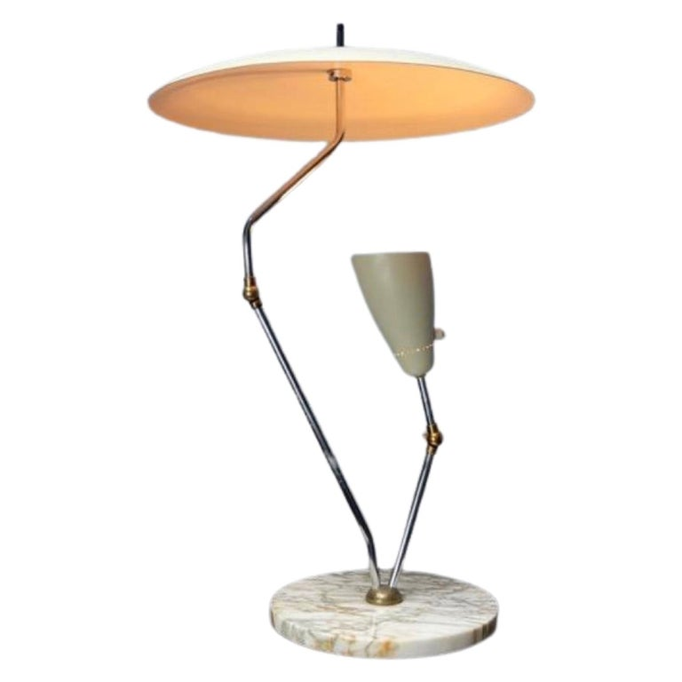1950s Italian Reflector Desk Lamp Sarfatti Stilnovo Style on a Marble Base For Sale