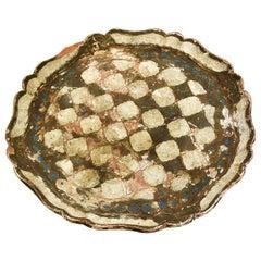 1950s Italian Regency Florentine Serving Tray Scalloped Platter in Giltwood