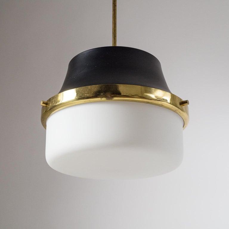 Lacquered 1950s Italian Satin Glass Pendant For Sale