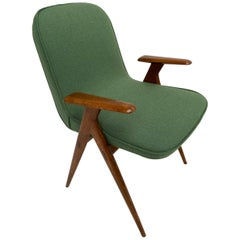 1950s Italian Side Chair Walnut and New De Ploeg Wool Upholstery