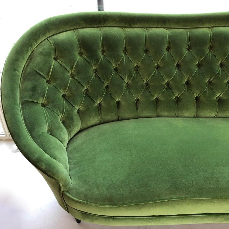 Mid-Century Modern 1950s Italian Sofa, Green Velour, Vintage Midcentury, Black Wooden Legs For Sale