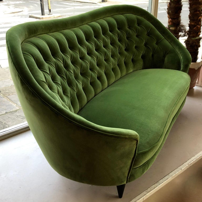 1950s Italian Sofa, Green Velour, Vintage Midcentury, Black Wooden Legs In Good Condition For Sale In London, GB