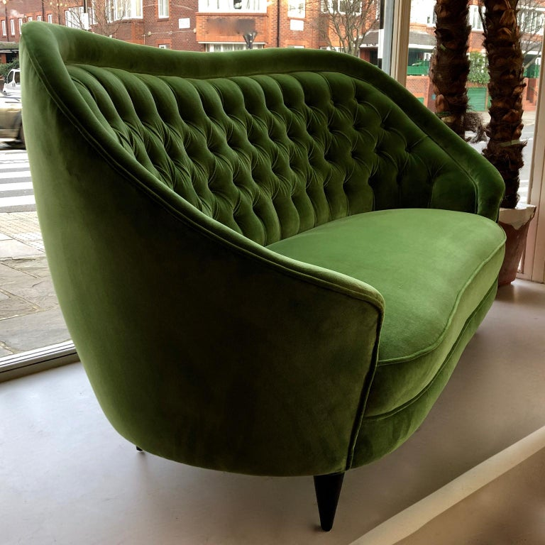 20th Century 1950s Italian Sofa, Green Velour, Vintage Midcentury, Black Wooden Legs For Sale