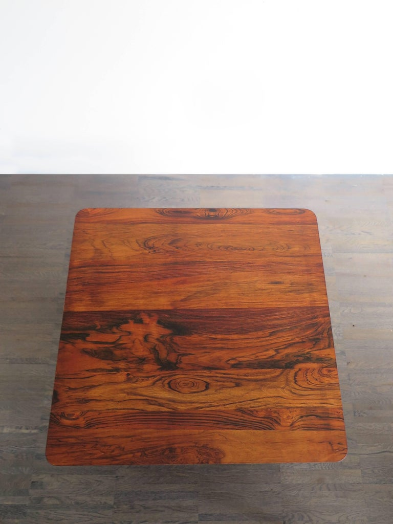 Mid-Century Modern 1950s Italian Square Rosewood and Brass Midcentury Modern Design Coffee Table For Sale