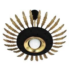 1950s Italian Sunburst Pendant or Flush Mount in Black Metal and Brass