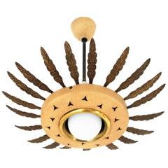 1950s Italian Sunburst Pendant or Flush Mount in Brass and Beige Metal