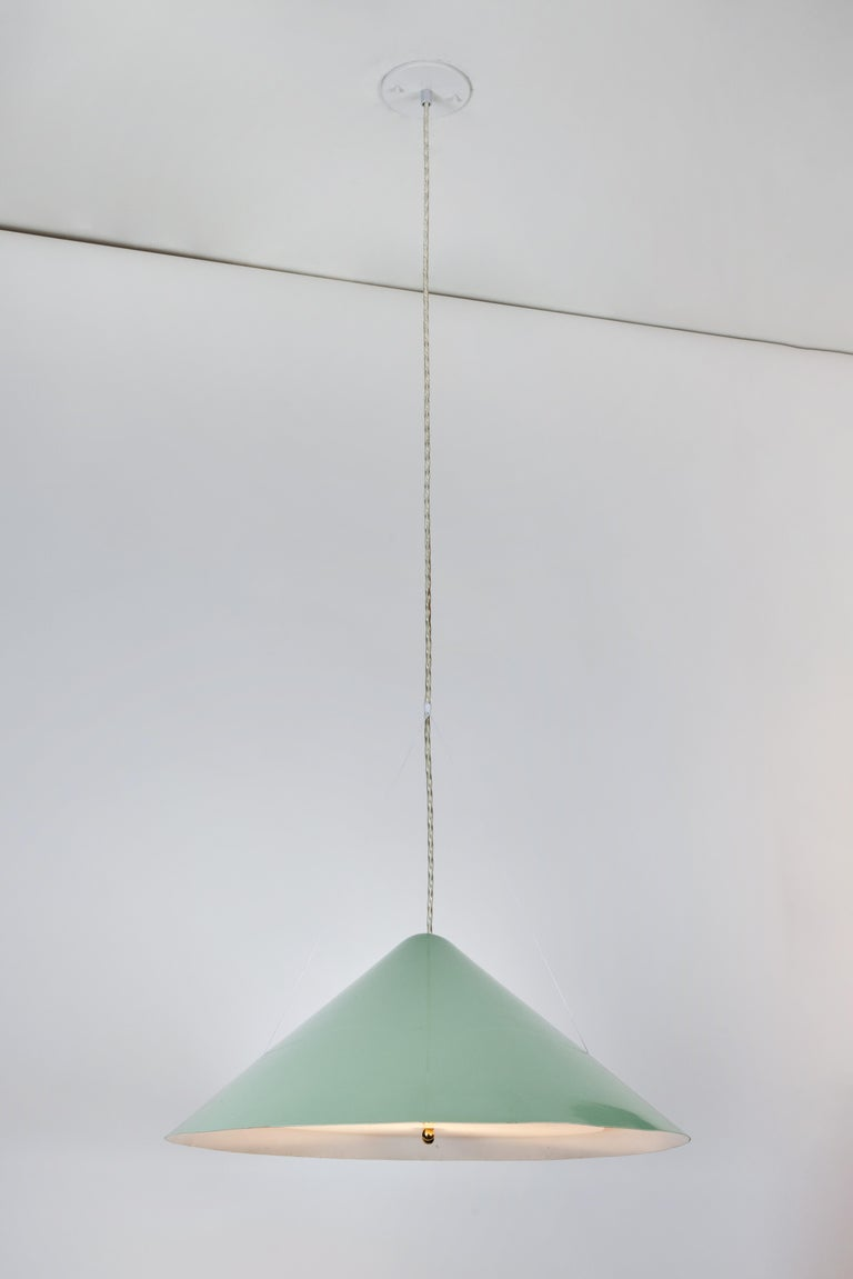 Enameled 1950s Italian Suspension Lamp Attributed to Ettore Sottsass for Arredoluce For Sale