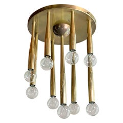 1950's Italian Swage Tapered Brass Tubes Ceiling Light