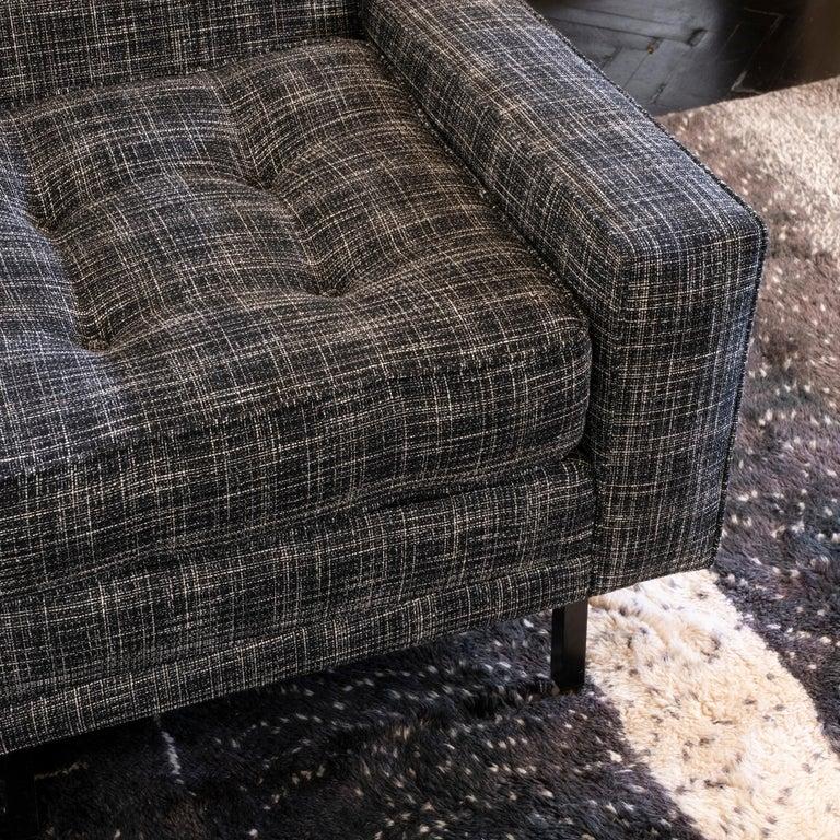 1950s Italian Three Pieces Modular Sofa, Black and White Fabric For Sale 5