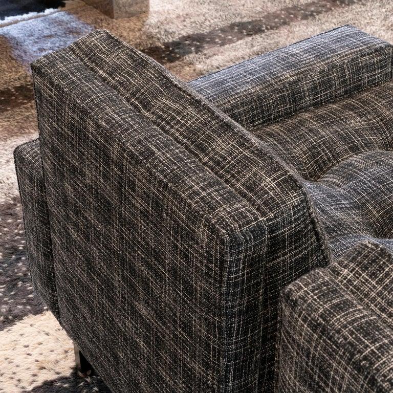 1950s Italian Three Pieces Modular Sofa, Black and White Fabric For Sale 7