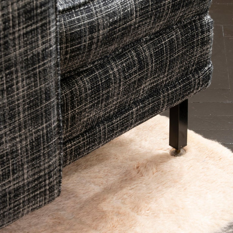 1950s Italian Three Pieces Modular Sofa, Black and White Fabric For Sale 8