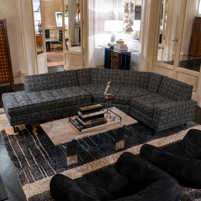 1950s Italian Three Pieces Modular Sofa, Black and White Fabric For Sale 9