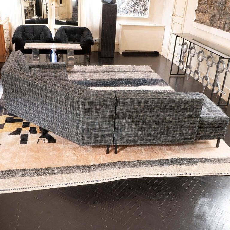 Mid-Century Modern 1950s Italian Three Pieces Modular Sofa, Black and White Fabric For Sale