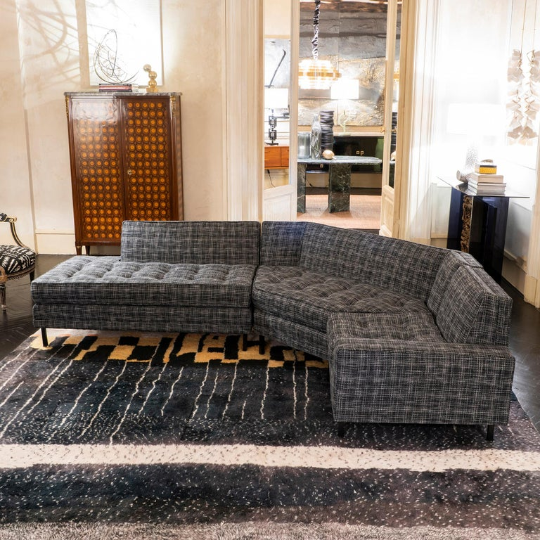 1950s Italian Three Pieces Modular Sofa, Black and White Fabric In Good Condition For Sale In Firenze, IT
