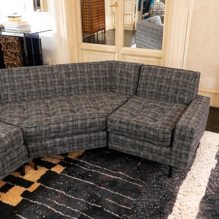 Mid-20th Century 1950s Italian Three Pieces Modular Sofa, Black and White Fabric For Sale