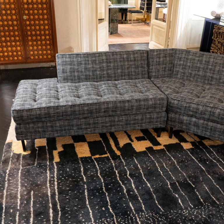 1950s Italian Three Pieces Modular Sofa, Black and White Fabric For Sale 1