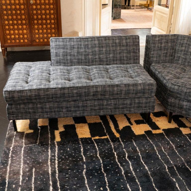 1950s Italian Three Pieces Modular Sofa, Black and White Fabric For Sale 2