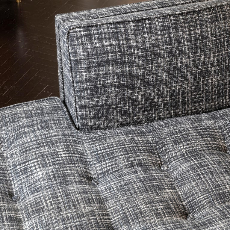 1950s Italian Three Pieces Modular Sofa, Black and White Fabric For Sale 4