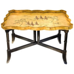 1950s Italian Tole Chinoiserie Pagoda Tray Table on Faux Bamboo Base