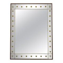 1950s Italian Trompe L'oeil Walnut Framed Mirror