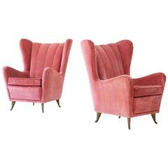 1950s Italian Velvet Lounge Chairs by I.S.A. Bergamo