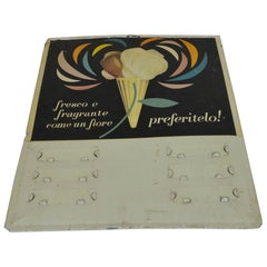 1950s Italian Vintage Advertising Squared Metal Screen Printed Ice Cream Sign