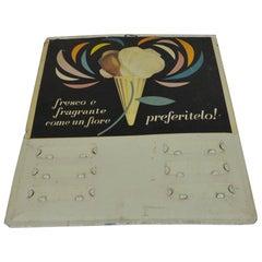 Quadratisches Vintage Eiscreme-Werbeschild aus Metall mit Siebdruck, Italien, 1950er Jahre