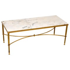 1950s Italian Vintage Brass and Marble Coffee Table