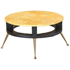 Vintage Coffee Table with Yellow Marble Top, italian design from the 1950s