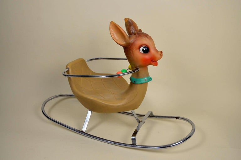 Steel 1950s Italian Vintage Deer Baby Rocking Horse Nursery Toy, Design by Canova For Sale