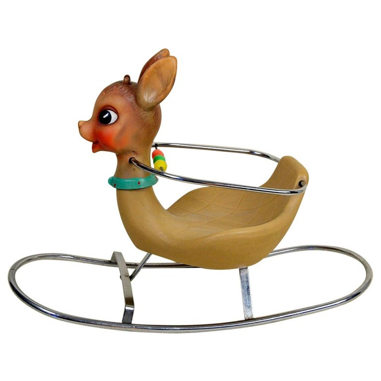 1950s Italian Vintage Deer Baby Rocking Horse Nursery Toy, Design by Canova For Sale