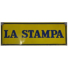 1950s Italian Vintage Enamel Blue and Yellow La Stampa Sign