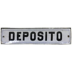 "1950s Italian Vintage Enamel Metal Storage Sign ""Deposito"""