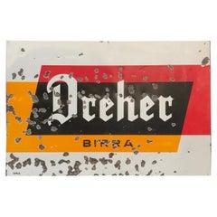 1950s Italian Vintage Metal Enamel Dreher Beer Advertising Sign