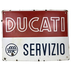 1950s Italian Vintage Rectangular Metal Enamel Ducati Bikes Advertising Sign