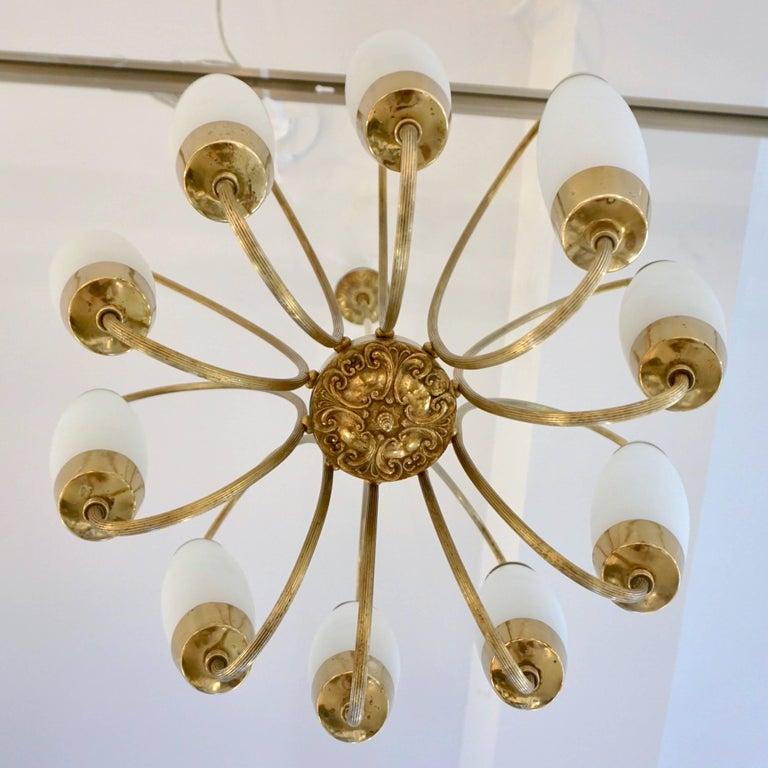 1950s Italian Vintage Stilnovo Style White Glass Ten-Light Brass Chandelier For Sale 1