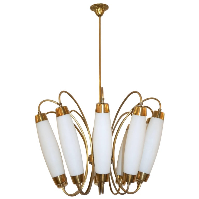1950s Italian Vintage Stilnovo Style White Glass Ten-Light Brass Chandelier