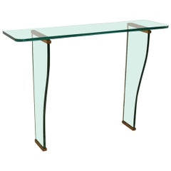 1950s Italian Wall Mount Console Table in Glass Design Fontana Arte Attributed
