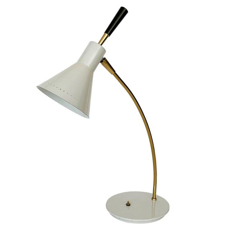 1950s Italian White Enamel and Brass Desk Lamp For Sale
