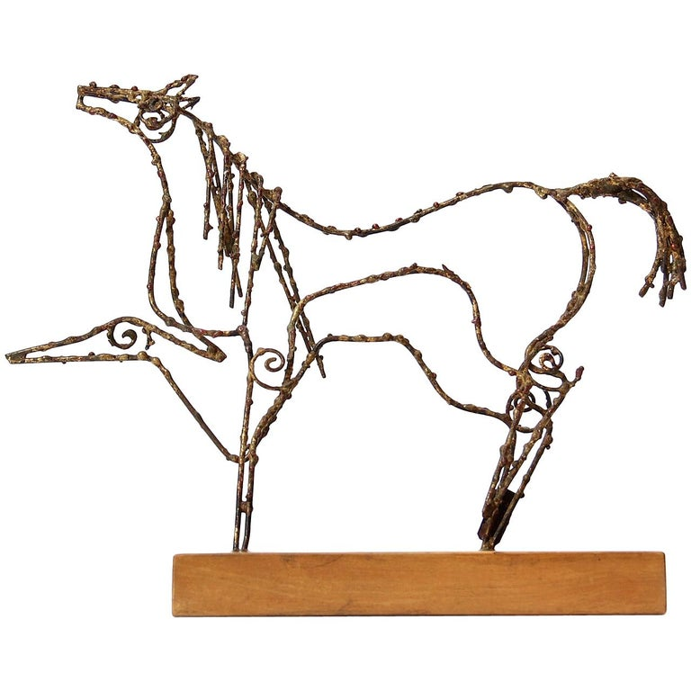 1950s Italian Wire Horse Sculpture by Marcello Fantoni for Raymor For Sale