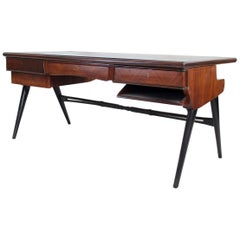1950s Italian Wood and Lacquered Wood Writing Desk