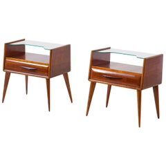 1950s Italian Wooden Bedside Tables with Glass Top