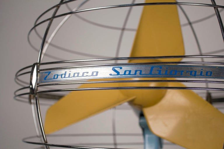 This elusive fan was produced in Italy between 1950 and 1959. It is called the Zodiaco or