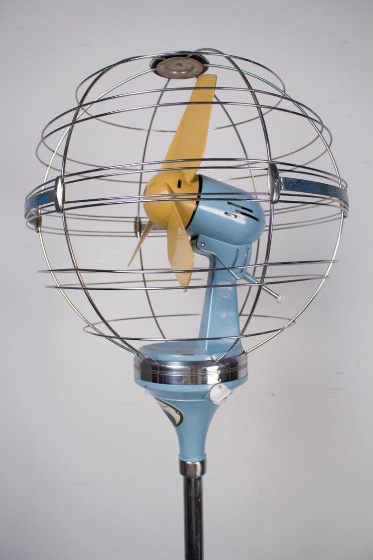 Mid-Century Modern 1950s Italian Zodiac Rotary Floor Fan produced by San Giorgio For Sale