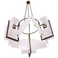 1950s Italy Bold Modernism Brass & White Acrylic Chandelier Vintage Oluce Style