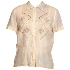 1950S Ivory Hand Embroidered Linen Top With Geometric Scalloped Collar