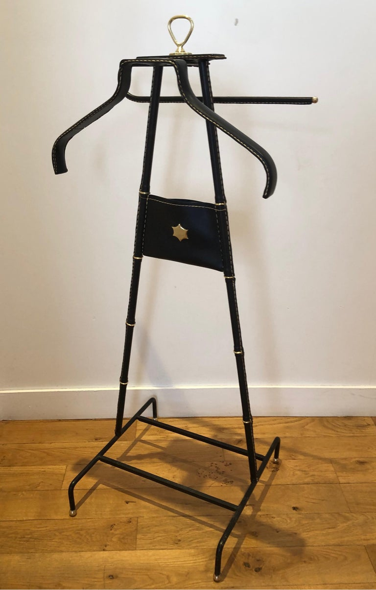 French 1950s Jacques Adnet Black Valet For Sale
